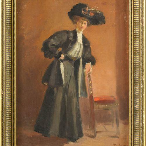 """SMEERS Frans (1873 1960) Huile sur toile marouflée sur panneau """"Elégante accoudé…"""