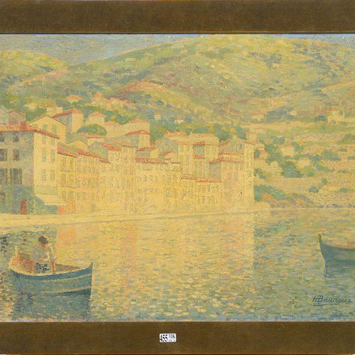 """BAUDOUX Henri (XIXème XXème) Huile sur toile """"Vue de Villefranche sur Mer"""". Sign…"""
