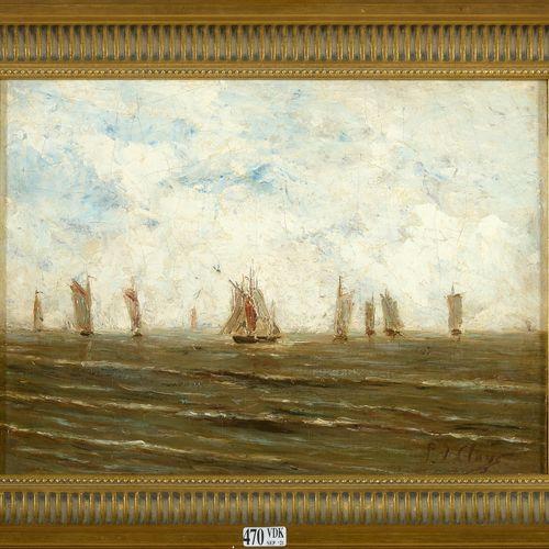 CLAYS Paul Jean (1819 1900) 布面油画《海洋》。右下角签有P.J. Clays。比利时的学校。尺寸:+/ 24,7x33,5厘米。