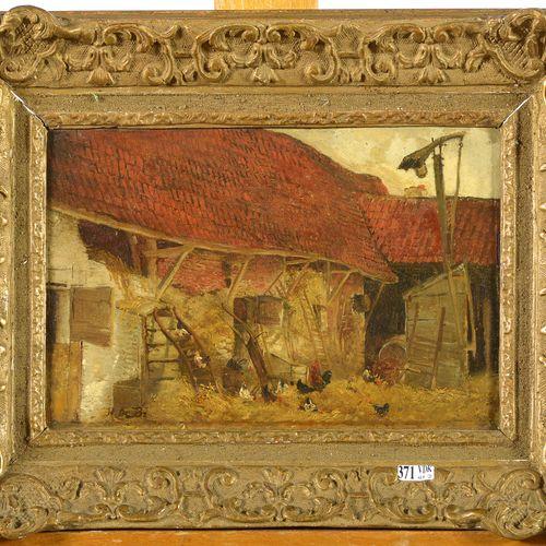 """DE BRAEKELEER Henri (1840 1888). (?). Huile sur panneau d'acajou """"Vue d'une cour…"""