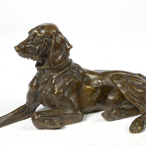 "LIEBERICH Nikolai Iwanowitsch (1828 1883) 棕色铜质的 ""躺着的狗""。衣领上有Nicolaï Lieberich的签名,…"