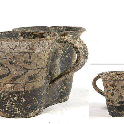 """""""Vase de mariage"""" ou """"Double tasse à deux anses"""" en terre cuite à décor de """"Pamp…"""