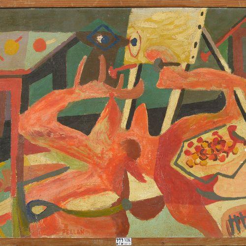 PELLAN Alfred (1906 1988) 布面油画《静物》。签名:佩兰中下。魁北克学校。(小碎片和一个打击)。尺寸:+/ 38,3x55厘米。