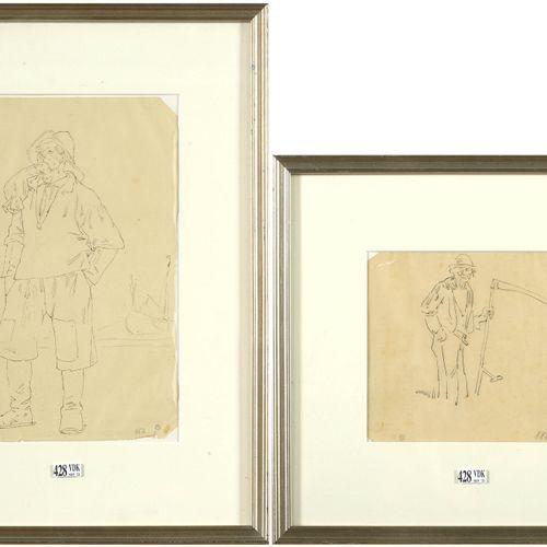 """ROPS Félicien (1833 1898) Lot de deux dessins """"Le faucheur"""" et """"Le pêcheur"""" à la…"""