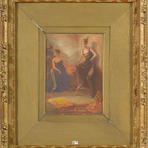 "DE BOEVER Jan Frans (1872 1949) ""纸上水粉画完整地粘贴在纸板上。签名右下:J. De Boever。比利时的学校。尺寸:+/ 3…"
