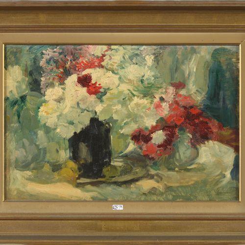 """G.R. (XIXème XXème). (?). 布面油画 """"Nature morte aux vases de fleurs""""。右下方有G.R.的字样。(?…"""
