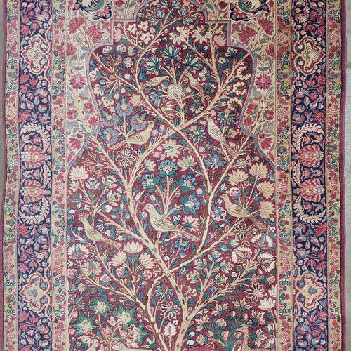 """Carpette Kirman en laine faite main décorée d'un """"Arbre de Vie aux oiseaux et au…"""