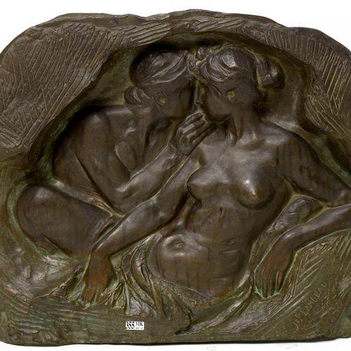 """LAMBEAUX Jef (1852 1908) """"La séduction"""" ou """"La jeunesse"""" bas relief en bronze à …"""