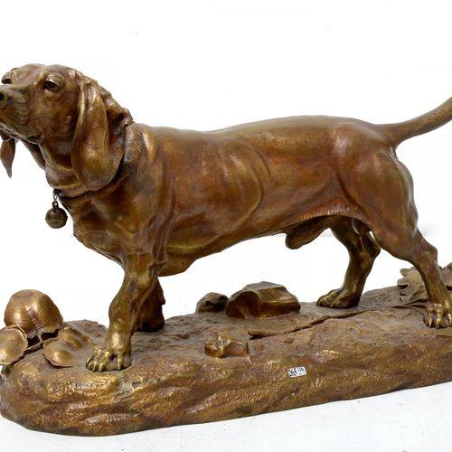 "MOIGNIEZ JULES (1835 1894) 重要的鎏金青铜 ""巴塞特""。签名:J. Moigniez。法国学校。高:+/ 48.5厘米。长:+/ 82…"