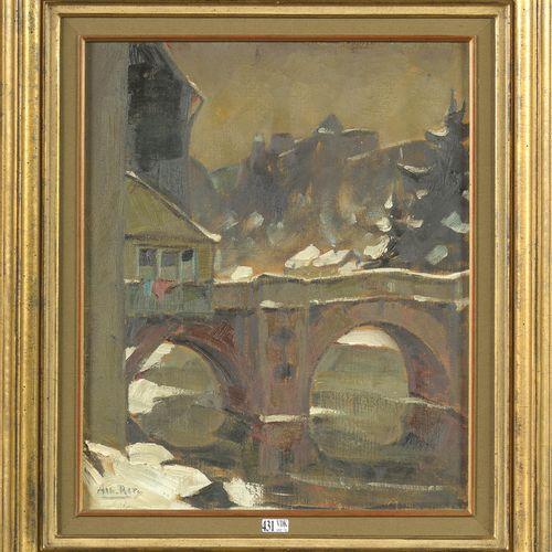 "RATY Albert (1889 1970) 布面油画 ""冬季列日桥景""。左下角署名:Alb.拉蒂。比利时的学校。尺寸:+/ 46x38厘米。"