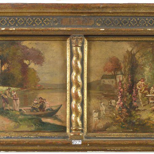 """PRATTE Léon (XIXème). (?). 双连画,布面油画 """"Fêtes galantes sur fond de paysage lacustre…"""