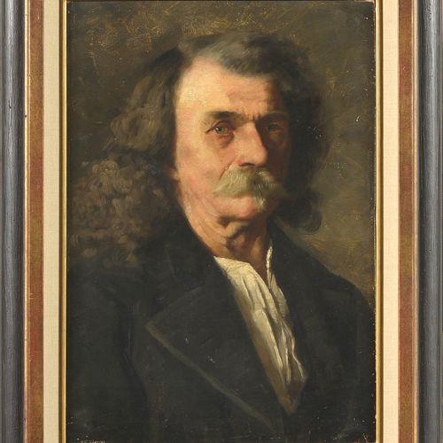 "JOHNSON Eastman (1824 1906). (?). Huile sur carton ""Portrait de Buffalo Bill"". M…"