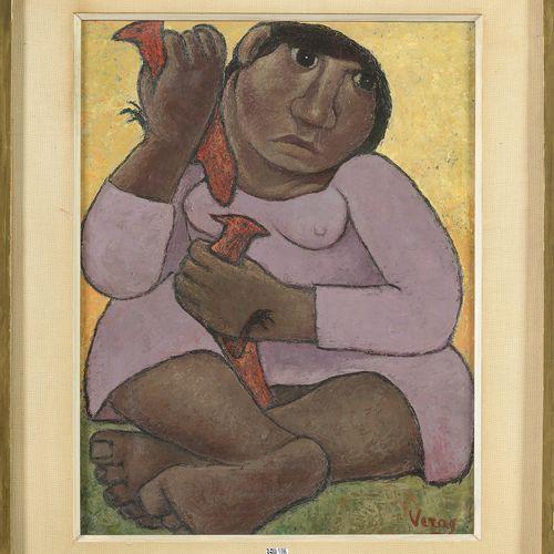 """VERAG Lucienne (1914 1994) Huile sur toile """"La femme aux oiseaux"""". Signé en bas …"""