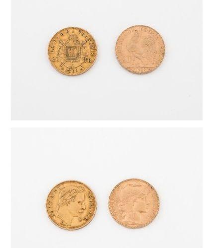 FRANCE  Lot de deux pièces de 20 francs or :   Napoléon III, Tête laurée, 1869 S…
