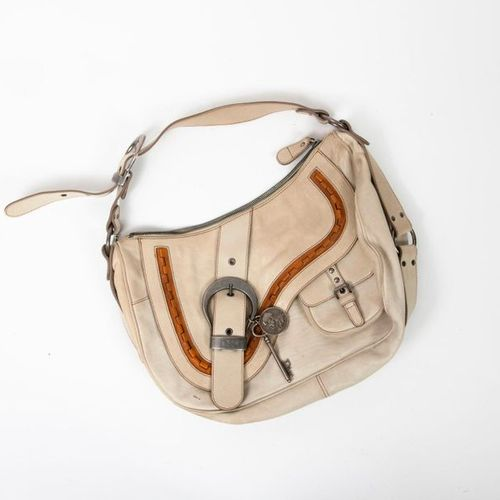 Christian DIOR, Gaucho  Beige leather and camel handbag  Brown oblique fabric in…