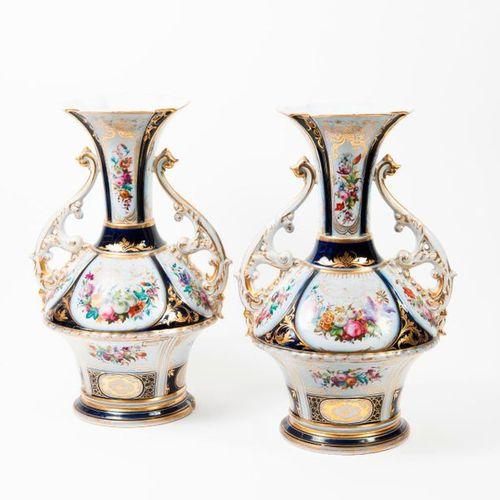 PARIS, seconde moitié du XIXème siècle  Pair of porcelain vases with swollen bel…