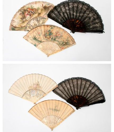 Two folded fans with watercoloured leaves and ivory mounts (Elephantidae spp; > …