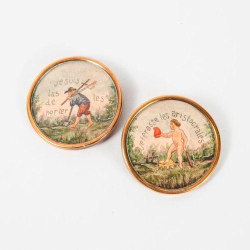 FRANCE, fin du XVIIIème siècle ou début du XIXème siècle  Two circular gilt meta…