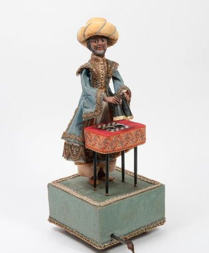 Maison FARKAS, Xxème The oriental magician. Automaton, head and hands in painted…