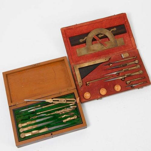 Wooden compass case (recomposed) on two levels including rulers, square, protrac…