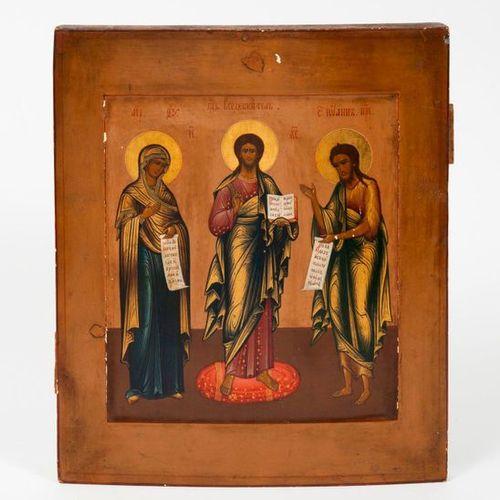 RUSSIE, Ecole de Moscou, fin du XIXème siècle. Icon representing the Deisis. Tem…