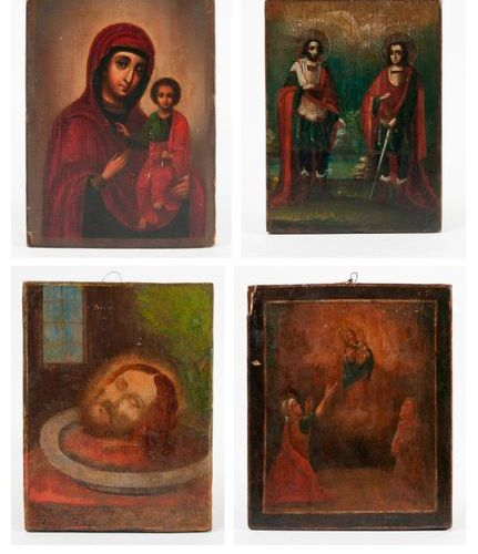 Set of four icons:   Virgin with child.  18 x 13 cm.   Appearance of the Virgin …