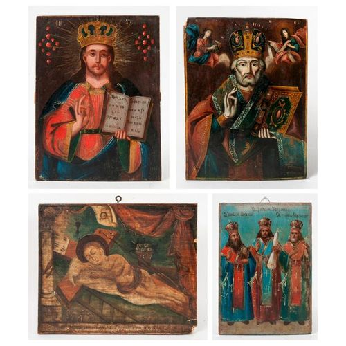 Set of four icons, 19th 20th centuries:  Tempera on wood.   Jesus lying on the c…
