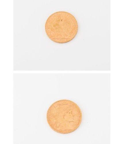 FRANCE 20 gold franc coin, IIIrd republic, Au coq, 1904.  Weight : 6,4 g.