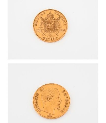 FRANCE  Coin of 100 francs, Napoleon III, bare head, 1858 Strasbourg.  Weight: 3…