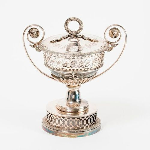 Sucker on a silver (950) pedestal with an adherent circular base decorated with …