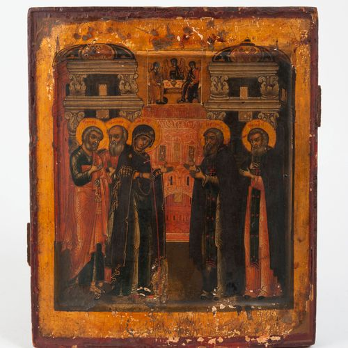 RUSSIE, XIXème siècle Presentation at the temple.  Icon.  Temperament on wood.  …