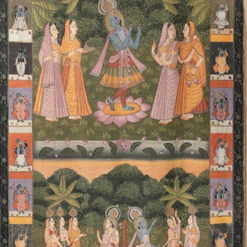 INDE, fin du XIXème ou début du XXème siècle Krishna receiving offerings  Tanka.…
