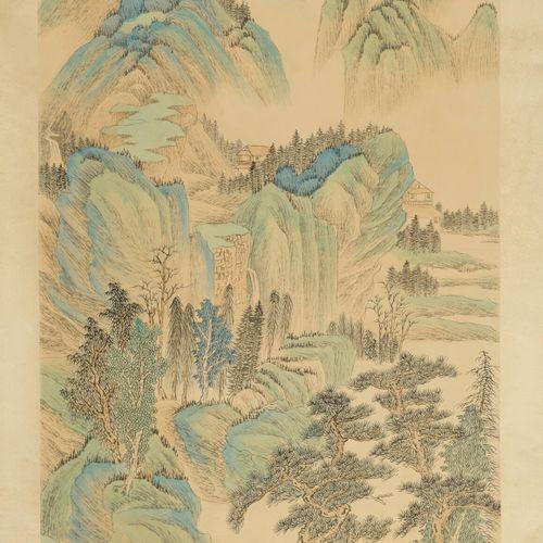 CHINE, XXème siècle Set of three inks on silk mounted in kakemono.   Mountain la…