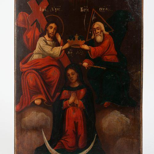 RUSSIE, XIXème siècle Coronation of the Virgin.  Icon.  Temperament on wood.  29…