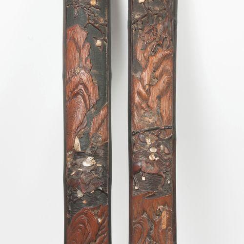 ASIE, XIXème XXème siècles Two carved and painted polychrome bamboo decorative e…