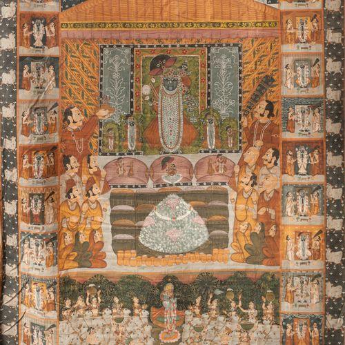 INDE, fin du XIXème ou début du XXème siècle Worship of a deity in a temple, abo…