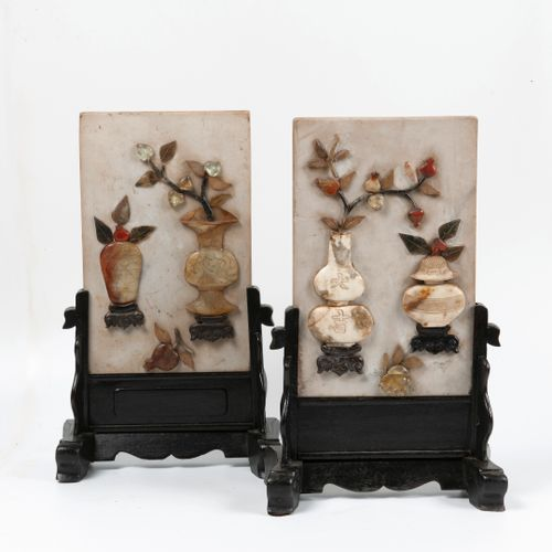 CHINE, XXème siècle Two white alabaster lettering screens with floral vase decor…