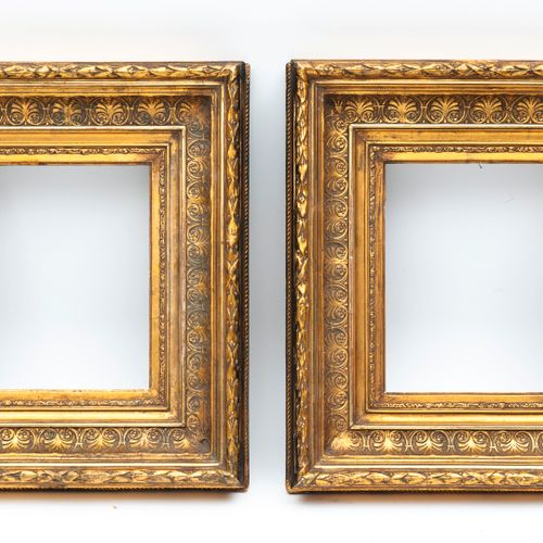 Seconde moitié du XIXème siècle Pair of small frames in moulded wood and gilded …