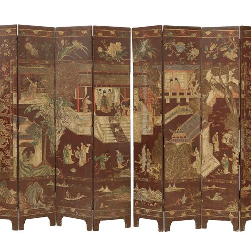 CHINE, XIXÈME SIÈCLE Small screen with eight leaves, in Coromandel lacquer with …