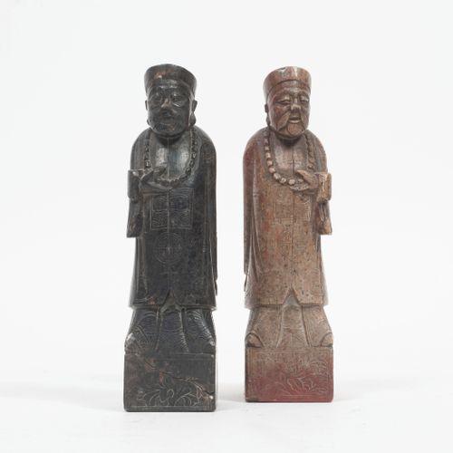 CHINE, fin du XIXème ou début du XXème siècles Dignitaries dressed in long coats…