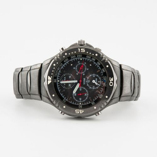 YEMA, Flygraf Montre bracelet d'homme en acier noirci, à système d'alarme.  Boît…