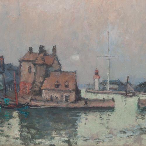 André HAMBOURG (1909 1999) Honfleur, Le vieux bassin, 1962. Huile sur toile. Sig…