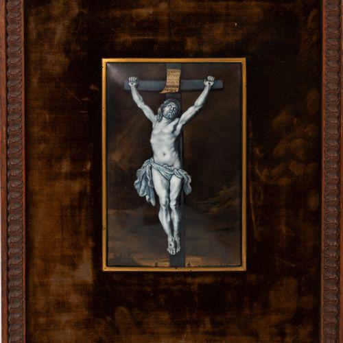 LIMOGES, début du XXème siècle Christ on the cross.  Rectangular enamel panel in…