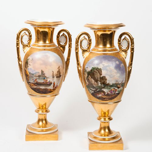 PARIS, XIXème siècle Pair of tapered vases on circular and square pedestals in w…