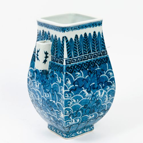 A blue white porcelain vase of fanghu form, each of the four sides decorated wit…