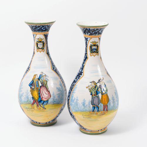 Lot comprenant : Manufacture Henriot, Quimper:   Pair of glazed earthenware vase…