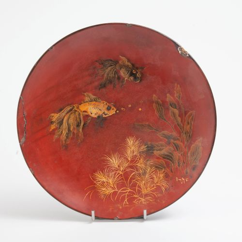 Phuc Duyen TRAN (1923 1993), Vietnam, Hanoï Circular dish in polychrome and gild…