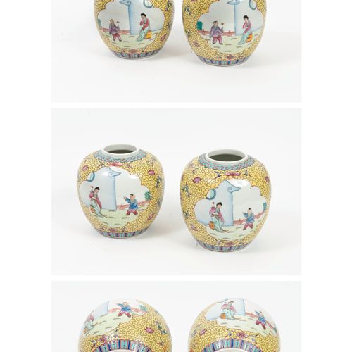 CHINE, XXème siècle Two polychrome enamelled porcelain ginger pots decorated wit…