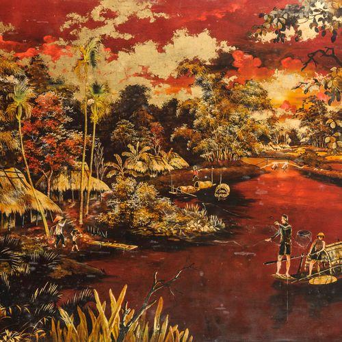 Ecole indochinoise du XXème siècle Pêcheurs en barque sur la rivière.  Panneau d…