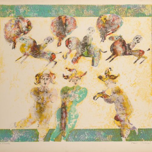 SAKTI BURMAN (1935) Untitled.  Lithograph in colors on paper.  Artist's proof.  …